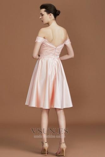 Vestido de dama de honor Corto sexy Espalda Descubierta Drapeado Encaje Corte-A - Página 2
