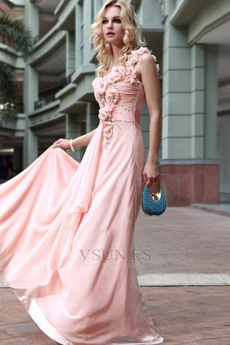 Vestido de noche Natural Bebé rosa Sin mangas Gasa Flores Blusa plisada - Página 2