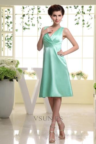 Vestido de dama de honor Corte-A Hasta la Rodilla Natural Satén Espalda medio descubierto - Página 4