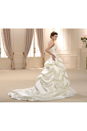 Vestido de novia Sin tirantes Satén Otoño Natural largo Abalorio - Página 3