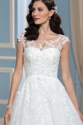 Vestido de novia Encaje Espalda Descubierta Corte-A Sala Otoño Cola Capilla - Página 4