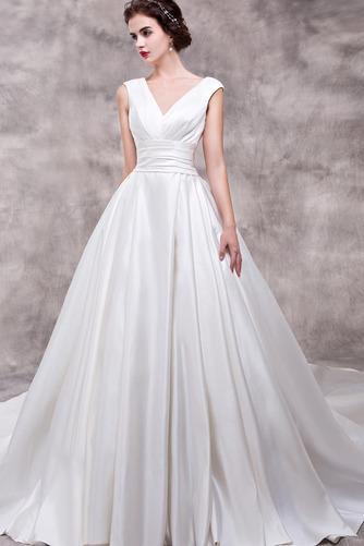 Vestido de novia Elegante Escote en V Dobladillos Corte-A largo Satén - Página 3