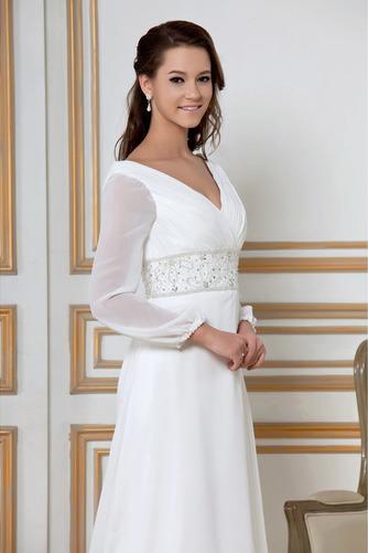 Vestido de novia Natural largo Dobladillos Corte-A Cremallera Escote en V - Página 4
