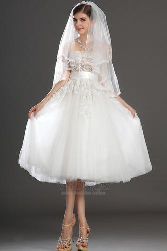 Vestido de novia Romántico tul Blanco Hinchado Abalorio Natural - Página 7