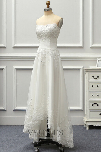 Vestido de novia Sin tirantes Sin mangas Corpiño Acentuado con Perla - Página 3