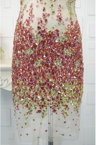 Vestido de cóctel Corto Sin mangas Escote en V primavera tul Falta - Página 3