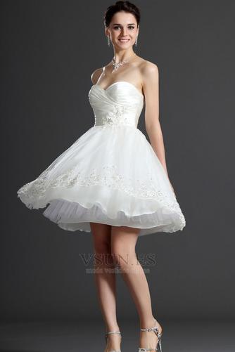 Vestido de novia Verano Sin mangas Natural Delgado Capa de tul Blusa plisada - Página 5