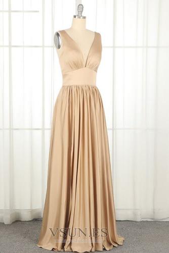 Vestido de dama de honor largo Espalda Descubierta Natural Escote en V Apertura Frontal - Página 6