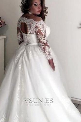Vestido de novia Playa Formal tul Rectángulo Apliques Mangas Illusion - Página 2