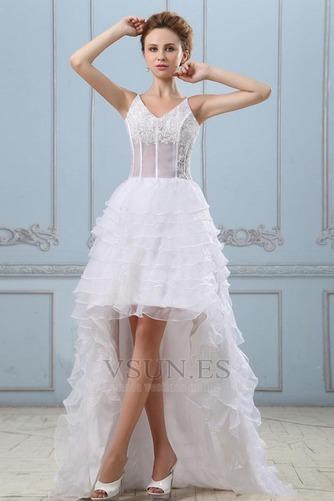 Vestido de novia Sin mangas Alto Bajo Escote de Tirantes Espaguetis - Página 2