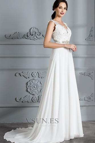 Vestido de novia Encaje Escote en V Natural Cremallera Playa Cinturón de cuentas - Página 5