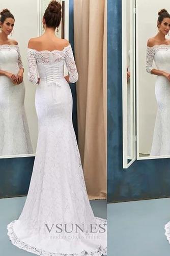 Vestido de novia Elegante Natural La mitad de manga Corte Sirena Falta - Página 1