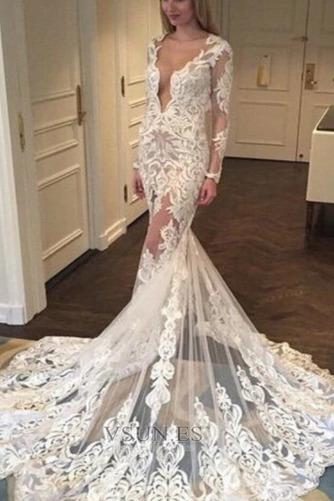 Vestido de novia Corte Sirena Verano Mangas Illusion Formal Apliques - Página 1