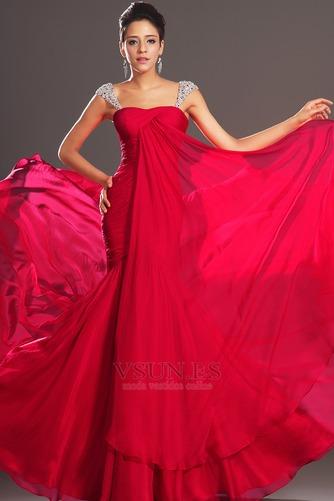 Vestido de noche Corte Sirena Invierno Plisado Gasa Cola Capilla Tallas pequeñas - Página 1