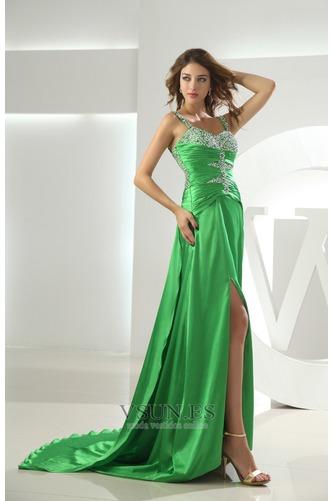 Vestido de fiesta Elegante Cristal Tiras anchas Espalda Descubierta Triángulo Invertido - Página 3