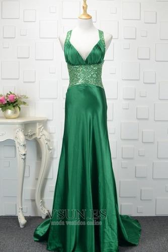 Vestido de noche Natural Corte-A Corpiño Acentuado con Perla Falta Satén Elástico - Página 1