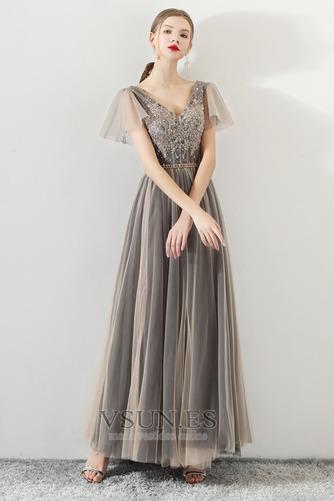 Vestido de fiesta Elegante Corte-A Natural Cordón tul Reloj de Arena - Página 3