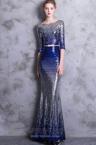 Vestido de noche Corte Sirena Hasta el Tobillo Escote redondo Estrellado - Página 4