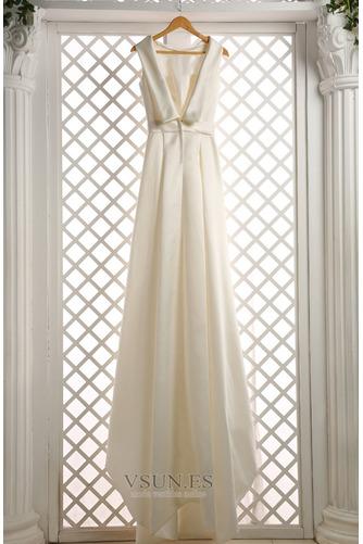 Vestido de novia Sin mangas Lazos Otoño Corte-A Natural Iglesia - Página 7
