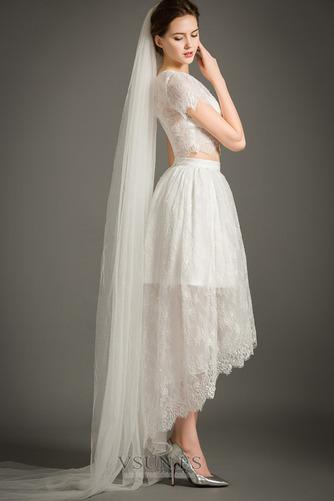 Vestido de novia Cremallera Moderno Asimétrico Dobladillo Camiseta Manga corta - Página 6