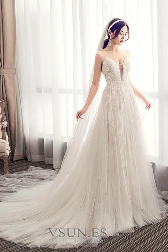 Vestido de novia Escote de Tirantes Espaguetis largo Iglesia Sin mangas - Página 3