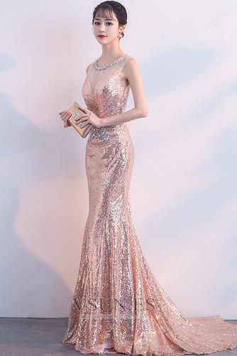 Vestido de fiesta Cremallera Natural Joya Corte Sirena Corpiño Acentuado con Perla - Página 3