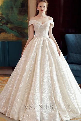 Vestido de novia Colores Iglesia Estrellado Con lentejuelas Otoño Escote con Hombros caídos - Página 1