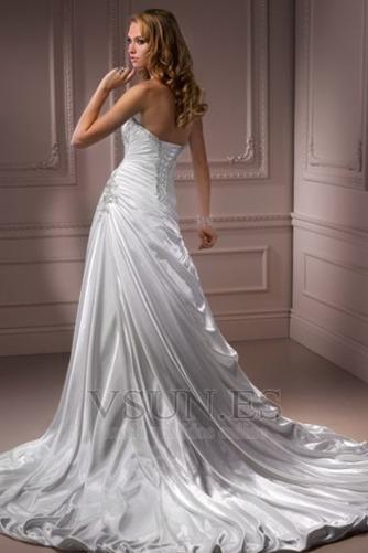 Vestido de novia Sin tirantes Natural Invierno Corte-A Pera Sala - Página 2