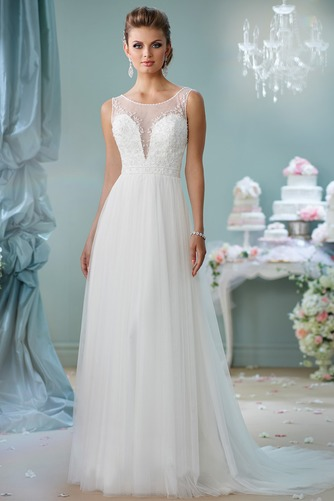 Vestido de novia Cremallera Sin mangas Natural Abalorio primavera Cola Capilla - Página 1