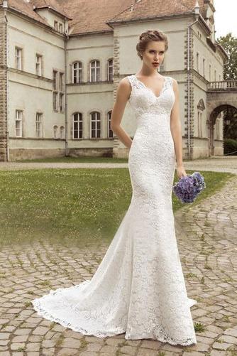 Vestido de novia Escote en V largo Apliques Fuera de casa Natural Moderno - Página 1