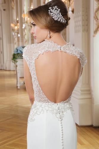 Vestido de novia Corte Sirena Abalorio Queen Anne Cremallera Gasa Elegante - Página 4