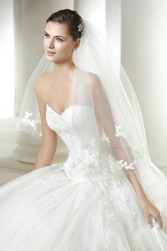 Vestido de novia Otoño Apliques Corte-A Cola Capilla Cremallera Con velo - Página 3
