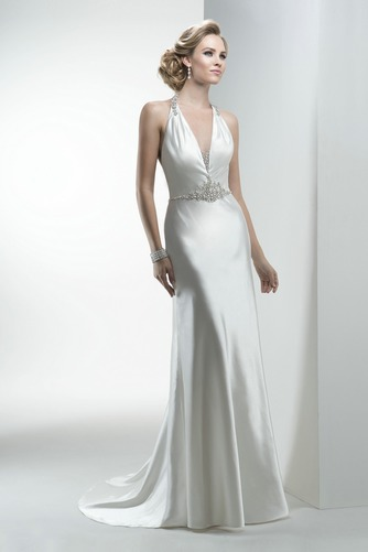 Vestido de novia Corte Recto Sin mangas Apliques Satén largo Natural - Página 1