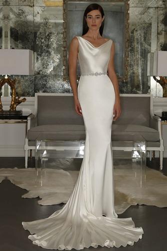 Vestido de novia Natural Otoño largo Cuello vuelto Volantes Adorno Espalda medio descubierto - Página 1