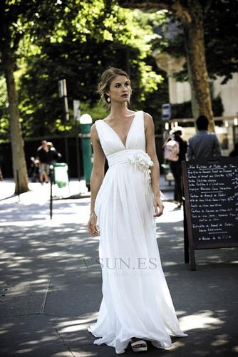 Vestido de novia Sin mangas Blusa plisada Escote en V Imperio Cintura - Página 1