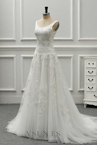 Vestido de novia vendimia Drapeado Corte-A Sin mangas Cola Catedral - Página 3