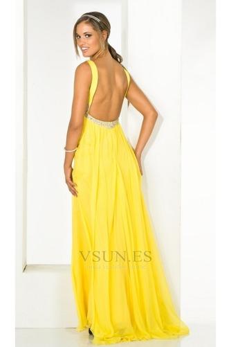 Vestido de fiesta Sin mangas Amarillo Hasta el suelo Abalorio Con Chal - Página 2