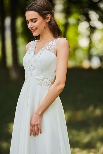 Vestido de novia Romántico Natural Escote en V largo Botón Sin mangas - Página 4