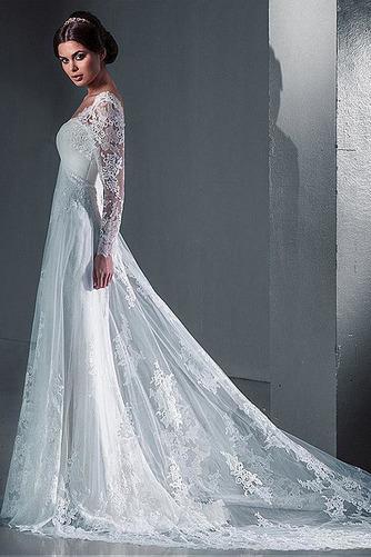 Vestido de novia Encaje Natural Satén Playa Escote Cuadrado largo - Página 2