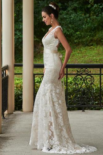 Vestido de novia Encaje Espalda medio descubierto Natural Fuera de casa - Página 2