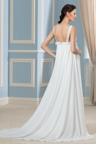 Vestido de novia Imperio primavera Escote en V Gasa Espalda Descubierta - Página 2