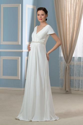 Vestido de novia Embarazadas Cola Barriba Imperio Cintura Espalda Descubierta - Página 3