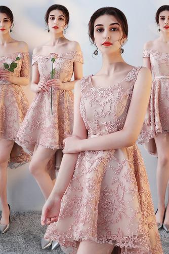 Vestido de dama de honor Encaje Asimétrico Dobladillo Sin mangas Drapeado Escote con Hombros caídos - Página 1