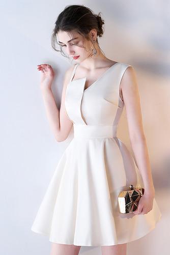 Vestido de dama de honor Corte-A Escote Asimètrico Corto Falta Sin mangas Natural - Página 1