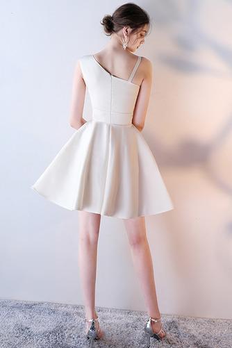 Vestido de dama de honor Corte-A Escote Asimètrico Corto Falta Sin mangas Natural - Página 4
