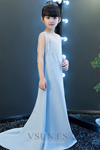 Vestido niña ceremonia Sin mangas Corpiño Acentuado con Perla Natural largo - Página 4