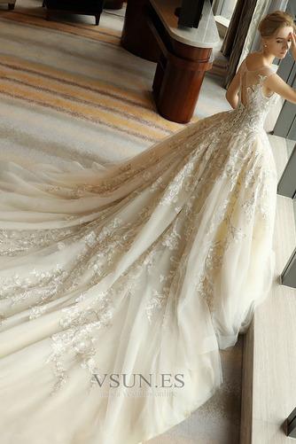 Vestido de novia Escote redondo Sin mangas Corte-A Natural Otoño Cordón - Página 4