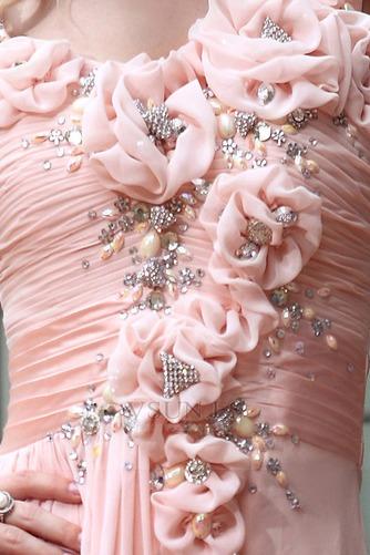Vestido de noche Natural Bebé rosa Sin mangas Gasa Flores Blusa plisada - Página 4
