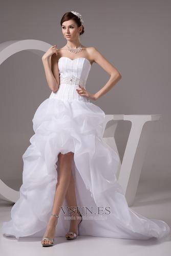 Vestido de novia Playa Falta Cintura Baja Asimètrico Espalda Descubierta - Página 1