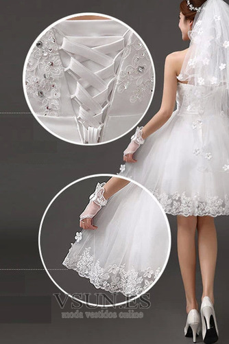 Vestido de novia Sin tirantes Falta Playa Verano Lazos Sin mangas - Página 2